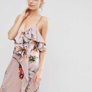 ASOS Cami Ruffle Dress Floral Midi
