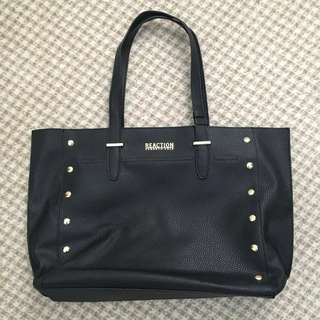Kenneth Cole Reaction bucket style handbag black with gold studs