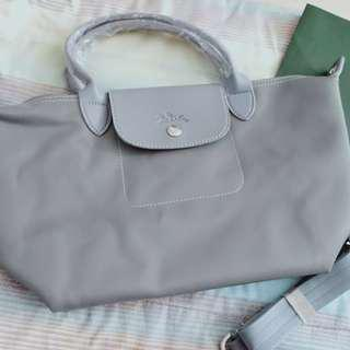 New long champ leather bag with paper bag