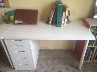 IKEA LINNMON TABLE AND ALEX DRAWER