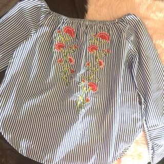 BNWOT Embroidered Striped Long Sleeved Off Shoulder