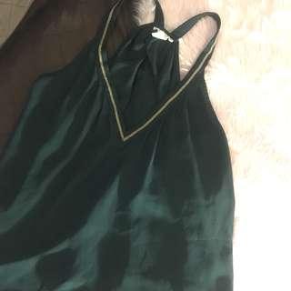 H&M Emerald Green Sleeveless V Halter Chiffon Top