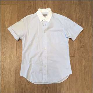 Japan United Arrows Blue White Stripes Short Sleeves Shirt