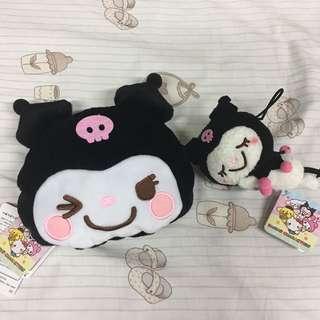 全新sanrio kuromi 公仔+Kuromi 袋仔套裝