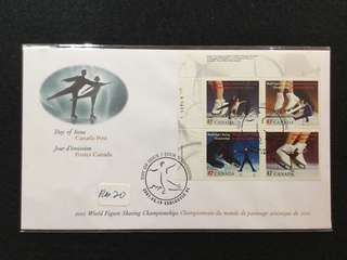 2001 Canada World Figure Skating Championships First Day Cover