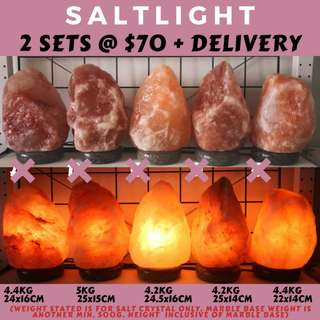 🚚 AUTHENTIC HIMALAYAN SALT LAMPS | IMPORTED FROM PAKISTAN, HIMALAYAS | 2 SETS WITH FREE DELIVERY | NEGATIVE IONS | RAW LUXURY | NATURAL CLEANSING PROPERTIES | ORGANIC NIGHTLIGHT