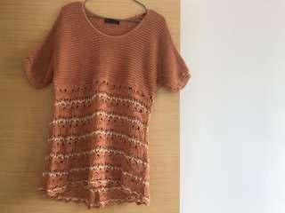 🈹日本購入 日牌Free's Mart 橙針織民族日系甜美女神上衣