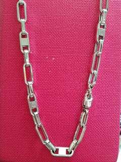 "18K750 White Gold Necklace24""long❤New❤Italy Made 18K750 白金意大利頸鍊"