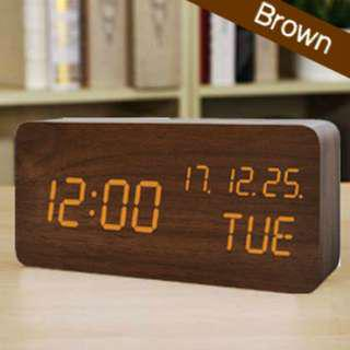 日本直送 木製 電子LED坐枱鬧鐘 木製LED置き時計