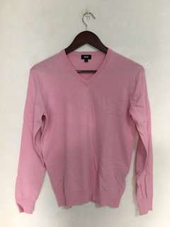 UNIQLO V-Neck Long Sleeve Sweater (Pink)