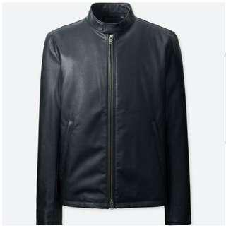 UNIQLO MEN Faux Leather Single Breasted Riders Jacket