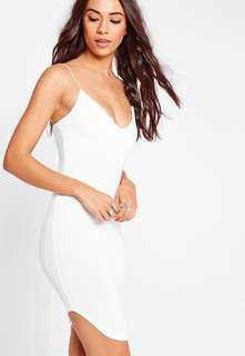 Misguided Strappy Curve Hem Midi Dress White (12)