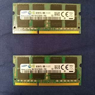 兩條Samsung DDR3L 8GB SODIMM Notebook Ram