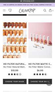 PREORDER COLOURPOP NO FILTER FOUNDATION AND CONCEALER