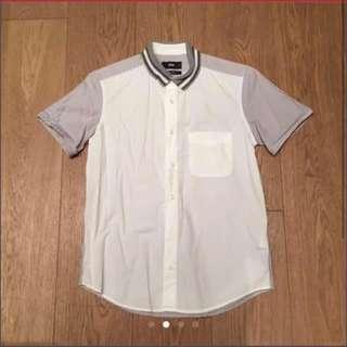 Hare white grey stripes short sleeves shirt