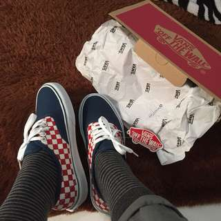 Vans checkerboard classic navy red