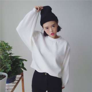 ribbed oversized pullover