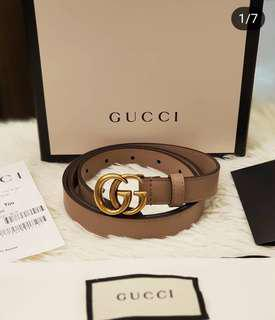 BRANDNEW GUCCI LEATHER BELT WITH DOUBLE G s90/36 ❤BIG SALE 29K ONLY!❤ With box dustbag card and gift receipt Swipe for detailed pics