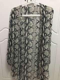 Snake Pattern Chiffon Long Cardigan