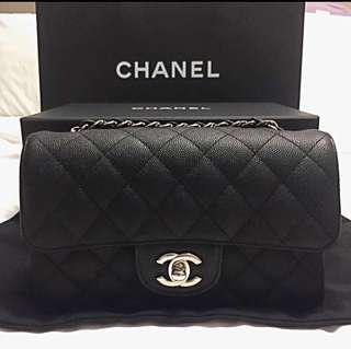 Chanel Mini Quilted Classic Flap Bag in Caviar with Silver Hardware