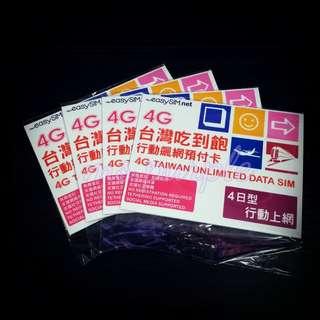 包郵💌 台灣4日無限數據卡