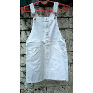 H&M White Denim Jumper Skirt (REPRICED)