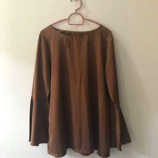 Flare Sleeves Saloma Brown Blouse