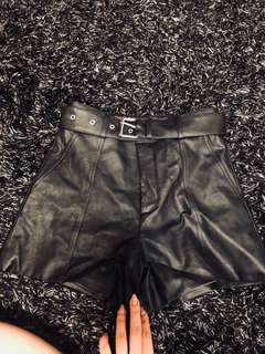Never worn Bardot real leather high waisted shorts