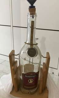 Martell Cognac Display Jumbo Bottle with Wooden Carved Stand