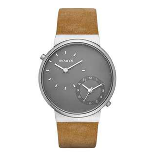 CLEARENCE! Skagen Men's Ancher Grey Dual Time Dial Leather Strap Watch SKW6190