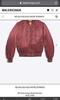 Authentic Balenciaga red Bomber Jacket