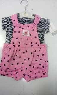全新粉紅色💕carters 一套2件套裝(3m, 6m) 有吊牌! 送平郵
