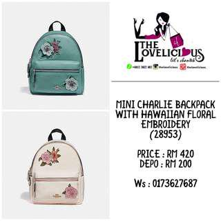 MINI CHARLIE BACKPACK WITH HAWAIIAN FLORAL EMBROIDERY COACH F28953