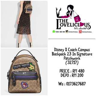 Disney X Coach Campus Backpack 23 In Signature Patchwork 32717