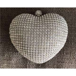 Forever New crystal heart clutch