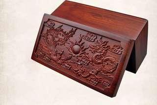 越南紅木首飾盒復古中式木盒龍鳳戲珠錢箱木箱