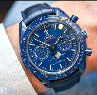 🚚 OMEGA 歐米茄 登月錶 超霸月相44.25毫米大師 天文台計時腕錶 藍色陶瓷材質 藍色面 盤陶瓷框 全新未使用新品 原廠盒單齊全