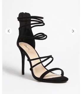 Suede Black Stiletto High heels Straps