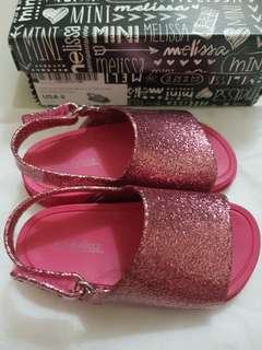 Mini Melissa Beach Slide Sandals s8 15cm size 8 Pink Glitter