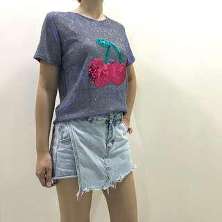 Shimmering cherry tee