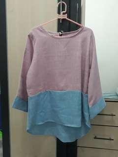 Blouse pink biru
