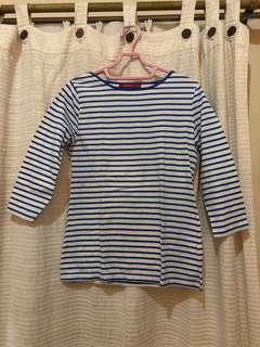 Connexion Stripes top baju garis-garis biru
