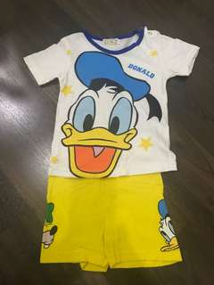 Preloved donald duck tshirt and pant set. For 2 years old.