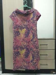 Dress batik pink ungu