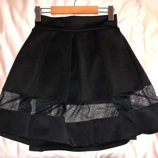 Small Black A-Line Skirt with Mesh Detailing