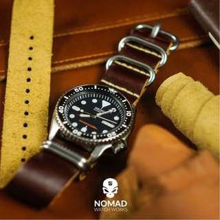🚚 Italian Oil Leather Zulu Strap in Brown w Silver Buckle (available in 18, 20, 22 and 24mm)