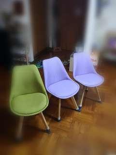 布藝 木腳凳 椅子 一套六張