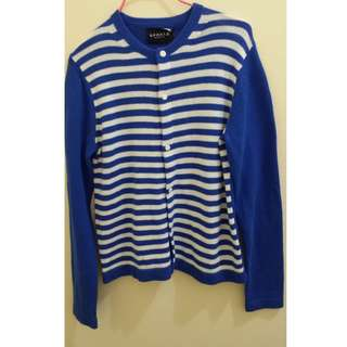 Agnes.b Sport b 條紋 藍 白 針織 薄款紐扣外套