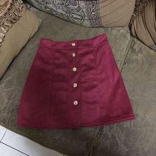 Maroon Button Up Skirt