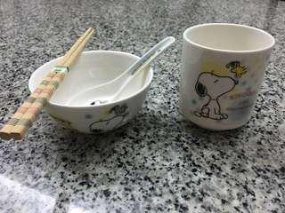 Snoopy utensil set - bowl spoon chopsticks cup